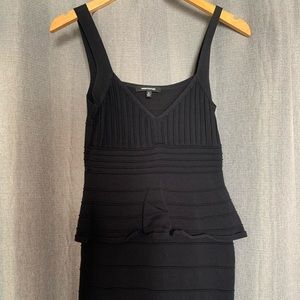 Bodycon Dress With Mid Ruffle S/M Black